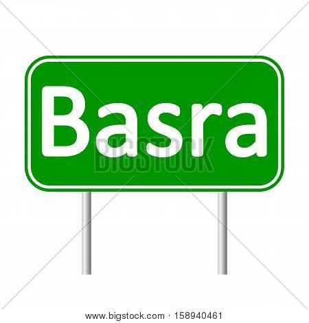 Basra road sign isolated on white background.