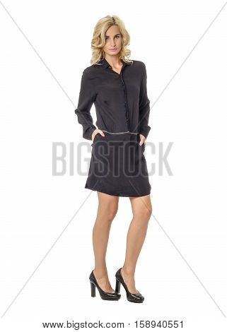 Portrait Of Flirtatious Woman In Black Tunic Dress Isolated On White