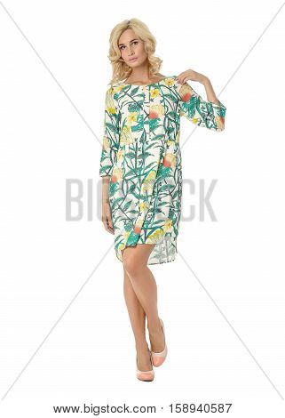 Portrait Of Flirtatious Woman In Tea Dress Isolated On White