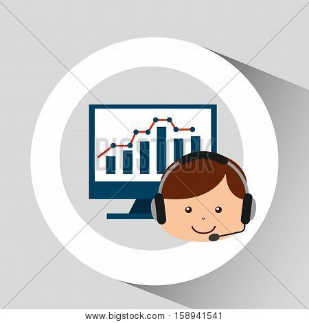 guy operator help service computer statistics vector illustration eps 10
