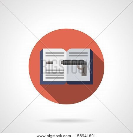 Open book with blue cover and image of shoot gun. Detective novel, police in search of murderers. Read at your leisure. Round red flat design vector icon.