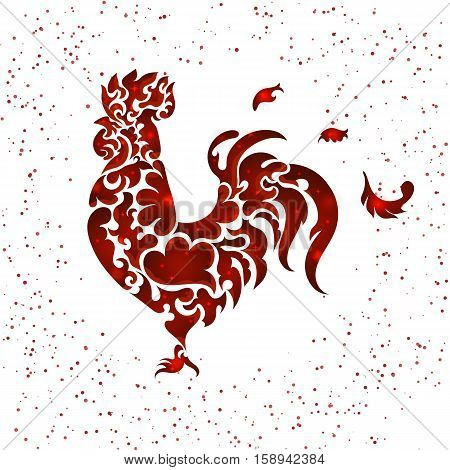 New year red glitter rooster. Vector illustration EPS 10