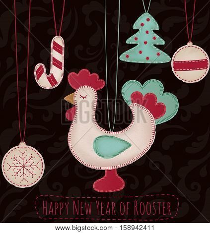 New Year toys set with rooster background