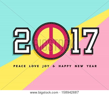 Happy New Year 2017 Peace Patch Icon Card Design