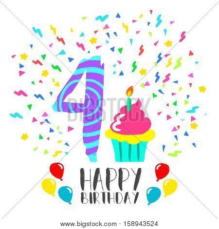 Happy Birthday Card For 4 Year Kid Fun Party Art