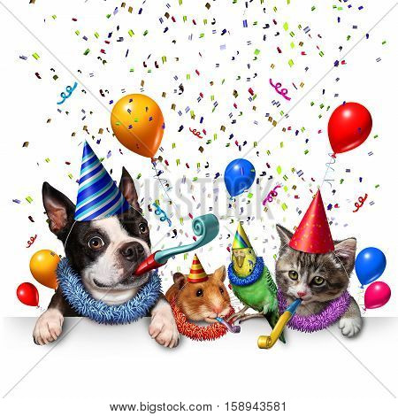 Party pet celebration and new year partying as a group of pets as a happy dog cat bird and hamster celebrating an anniversary or birthday party with 3D illustration elements.