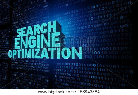 Search engine optimization symbol and seo technology background as text representing an internet data searching solution concept on a data background of binary code as a website software icon as a 3D illustration.