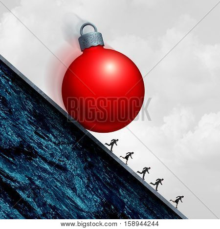 Christmas holiday stress concept as a holiday ornament rolling down a hill with people running in despair as a seasonal pressure symbol with 3D illustration elements.