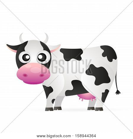 Cartoon cow animal cute character and milk cartoon domestic cute bull. Farm mammal animal vector.