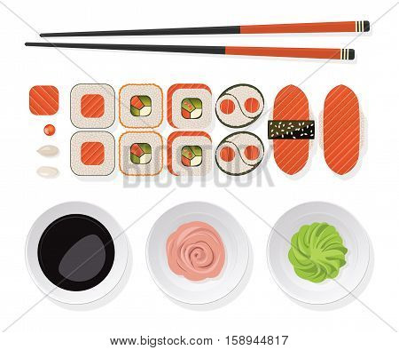 Sushi set. Top view of classic sushi set rolls with salmon chopsticks and wasabi ginger soy sauce on a white plate. Vector illustration.
