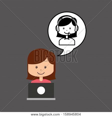 support assitance concept girl with woman operator vector illustration eps 10
