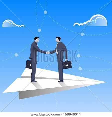 Flying on paper plane business concept. Confident businessmen in business suit shaking each other hands flying on paper plane. Deal agreement unity pact contract treaty.