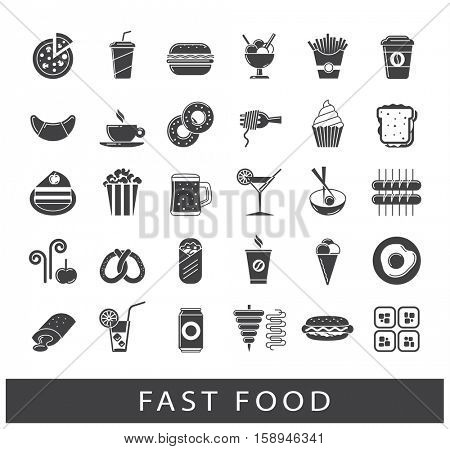 Set of premium quality fast food icons. Collection of fast food and drink.