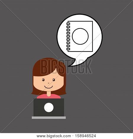 support assitance concept girl with directory contacts vector illustration eps 10