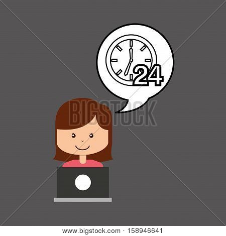 support assitance concept girl with clock 24 service vector illustration eps 10