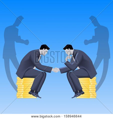 Tough negotiations business concept. Confident businessmen sitting on stacks of gold coins and shaking each other hands but their shadows are ready to fight.