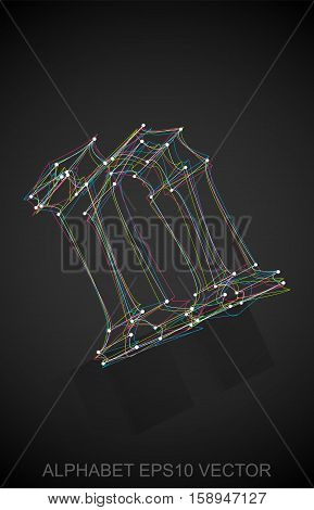 Abstract illustration of a Multicolor sketched 0 with Reflection. Hand drawn 3D 0 for your design. EPS 10 vector illustration.