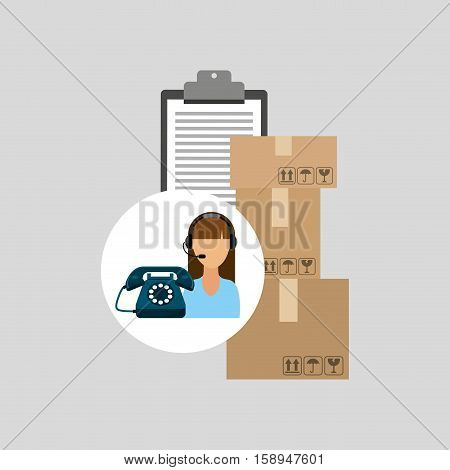 call centre woman working clipboard cardboard box vector illustration eps 10