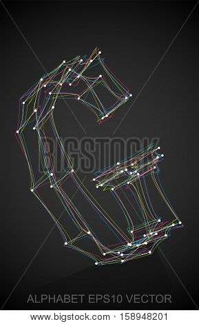 Abstract illustration of a Multicolor sketched uppercase letter G with Reflection. Hand drawn 3D G for your design. EPS 10 vector illustration.