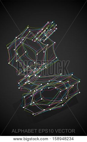 Abstract illustration of a Multicolor sketched lowercase letter G with Reflection. Hand drawn 3D G for your design. EPS 10 vector illustration.