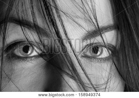 scared female eyes under blowing hair close up macro monochrome image