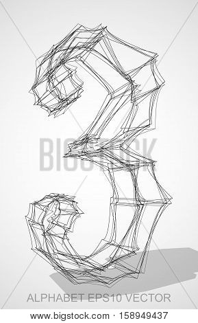 Abstract illustration of a Ink sketched number three 3 with Transparent Shadow. Hand drawn 3D 3 for your design. EPS 10 vector illustration.