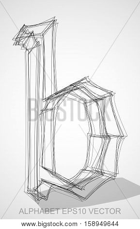 Abstract illustration of a Ink sketched lowercase letter B with Transparent Shadow. Hand drawn 3D B for your design. EPS 10 vector illustration.