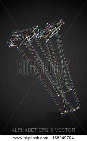 Abstract illustration of a Multicolor sketched uppercase letter V with Reflection. Hand drawn 3D V for your design. EPS 10 vector illustration.