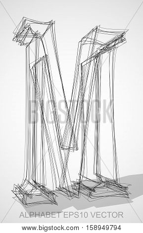 Abstract illustration of a Ink sketched uppercase letter M with Transparent Shadow. Hand drawn 3D M for your design. EPS 10 vector illustration.