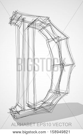 Abstract illustration of a Ink sketched uppercase letter D with Transparent Shadow. Hand drawn 3D D for your design. EPS 10 vector illustration.