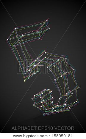 Abstract illustration of a Multicolor number five with Reflection. Hand drawn 3D 5 for your design. EPS 10 vector illustration.