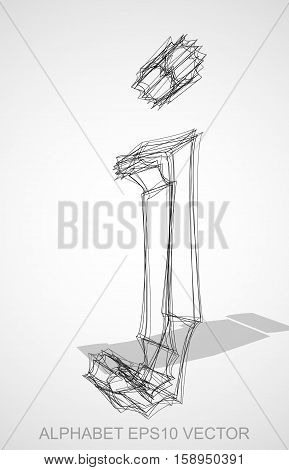 Abstract illustration of a Ink sketched lowercase letter J with Transparent Shadow. Hand drawn 3D J for your design. EPS 10 vector illustration.