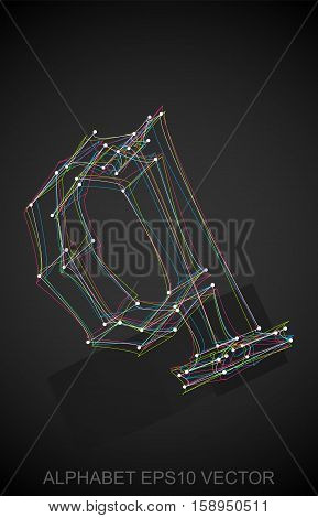 Abstract illustration of a Multicolor sketched lowercase letter Q with Reflection. Hand drawn 3D Q for your design. EPS 10 vector illustration.
