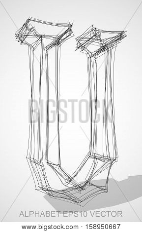 Abstract illustration of a Ink sketched uppercase letter U with Transparent Shadow. Hand drawn 3D U for your design. EPS 10 vector illustration.