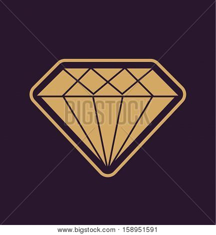Diamond Icon - simple diamond symbol logo background flat vector stock