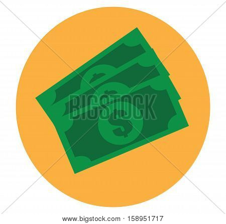 Icon money cash banknote - green money business vector flat stock