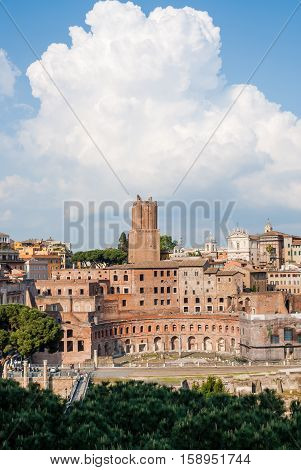 Picturesque view of the Torre delle Milizie and the Trajan Forum in Rome Italy