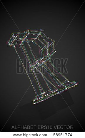 Abstract illustration of a Multicolor sketched uppercase letter R with Reflection. Hand drawn 3D R for your design. EPS 10 vector illustration.