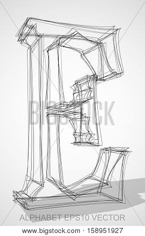 Abstract illustration of a Ink sketched uppercase letter E with Transparent Shadow. Hand drawn 3D E for your design. EPS 10 vector illustration.