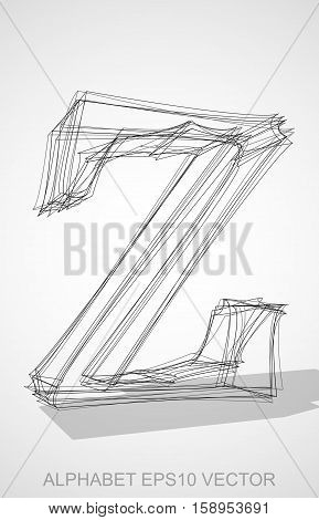 Abstract illustration of a Ink sketched lowercase letter Z with Transparent Shadow. Hand drawn 3D Z for your design. EPS 10 vector illustration.
