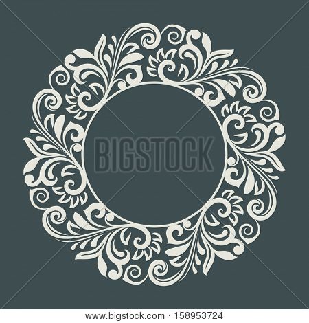 Abstract winter floral frame vector template.