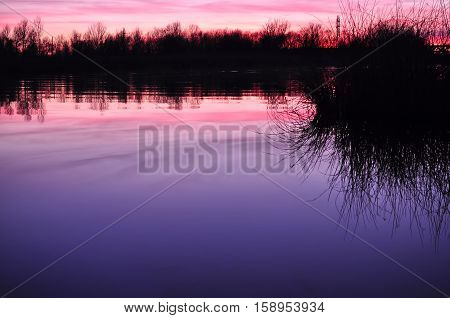 Beautiful Colorful Dusk On A River