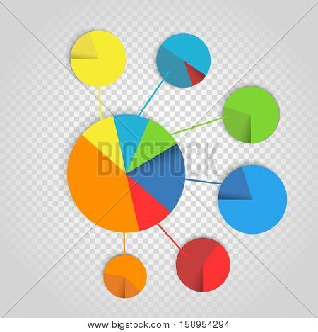 Infographic elements collection. Color pie-chart diagram collection on transparent 