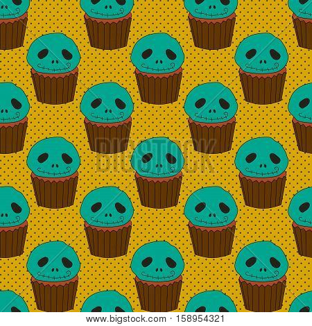 Halloween seamless pattern with cake vector background