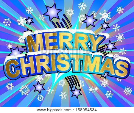 Exploding merry christmas text colorful action vector illustration
