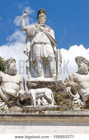 fountain at the foot of statue of Romulus and Remus the founders of Rome Piazza del Popolo Rome Italy