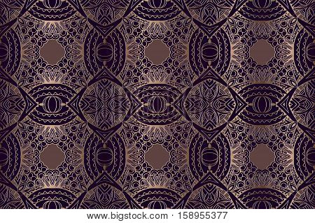 abstract seamless background vintage embossed openwork gold pattern on a purple background