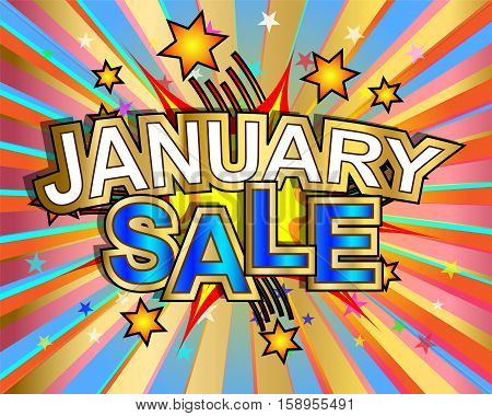 Exploding January sale text colorful action vector illustration
