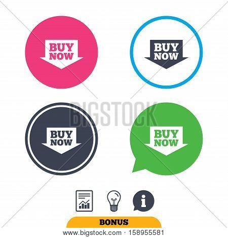 Buy now sign icon. Online buying arrow button. Report document, information sign and light bulb icons. Vector