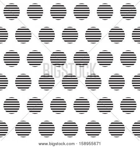 Seamless pattern with striped circles. Abstract geometrical background.